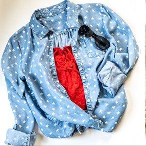 H&M | Chambray Star Print Shirt